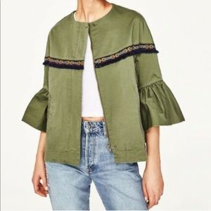 Zara Basic Outerwear Green Boho Bell Sleeve Jacket